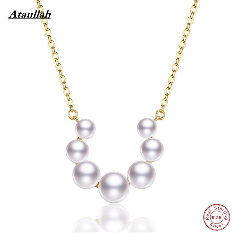 Ataullah Natural Pearls 925 Sterling Silver Women Necklaces & Pendants 18K Gold Plated Real Pearls Necklaces NWP432 imitation pearls long chain necklaces
