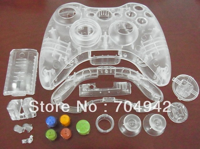 Transparent Crystal Shell for Xbox360 Xbox 360 Controller  Free Shipping 12PCS/Lot Colorfl