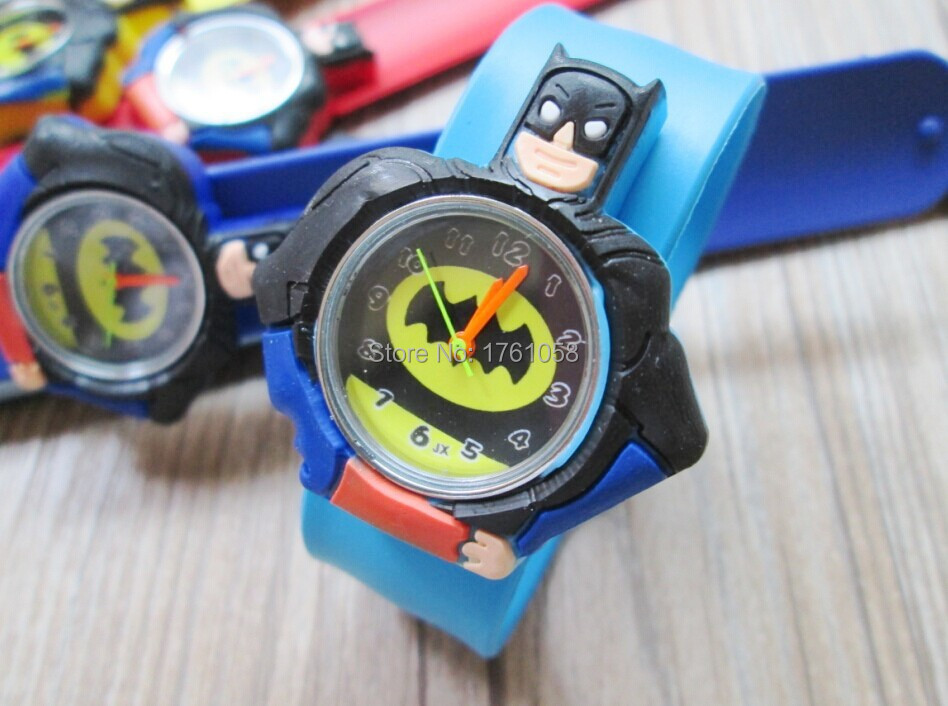 fashion kids slap watches children cartoon slap silicone Batman watches for kids 10pcs/lot