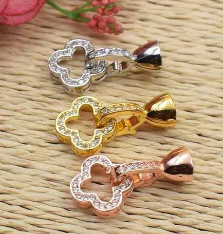 925-Bạc clover kim cương vòng cổ ngọc khóa DIY high-end phụ kiện