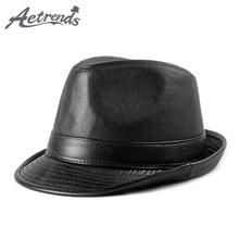 AETRENDS 2019 Autumn Winter PU Leather Fedoras Hats for Men Women Top Hat  Panama Jazz 77134c3ba1dc