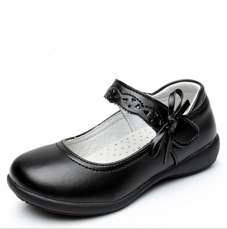 2017 Children Girls Genuine Leather Shoes For Kids Girls Dress Shoes Lovely Bowknot Black Flat Dancing