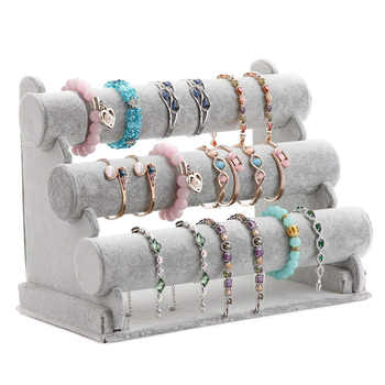 Triple Bracelet Holder Jewelry Display Stand Watch Bangle Bar Necklace Storage Organizer Gray - DISCOUNT ITEM  32% OFF All Category