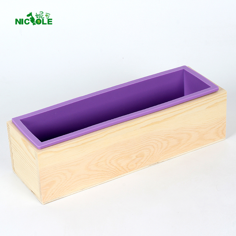 Flexible Silicone Loaf Soap Mold With Wood Box For Homemade Swirl Cold Process DIY Rectangular Mould