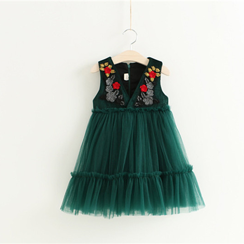 Tutu Flower Baby Dress For Wedding Party Sleeveless Infant Baby vintage embroidery Dresses For 2-6 Years Toddler baby clothes
