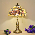 12 Inch Warm LED Tiffany Table Lamp Handmade Art Decorative Shell Rose Dragonfly Lamp Living Room Bedroom Bedside Light