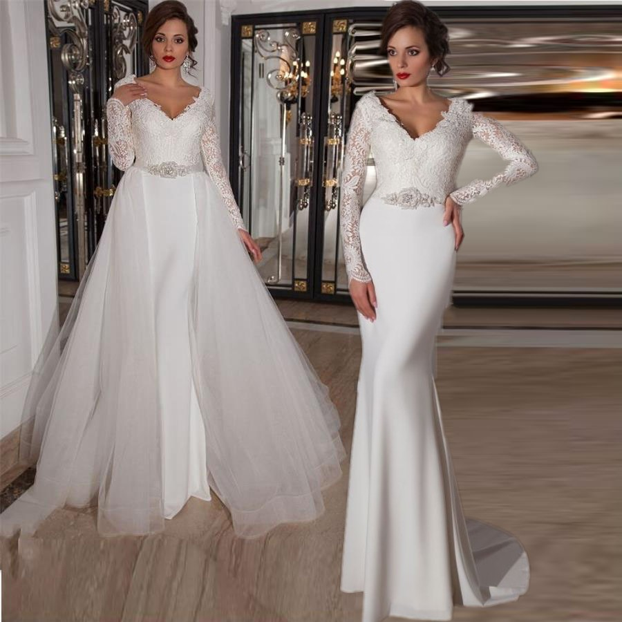 Simple A Line Long Sleeve Wedding Dress Elegant 2016: White Elegant Long Sleeve V Neck Wedding Dresses 2016