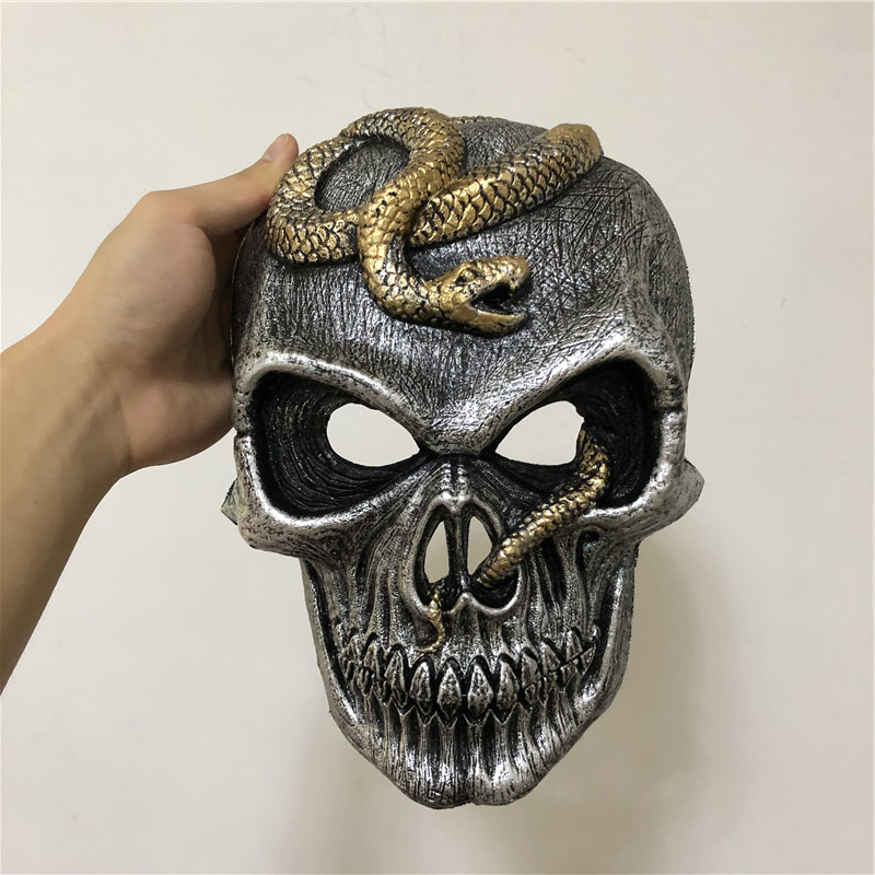 Halloween Cosplay Mask Prop Black Scary Snake Skeleton Mask 1:1 PU Movie Game Anime Cos Kids Role Play Gift Safety PU 30cm