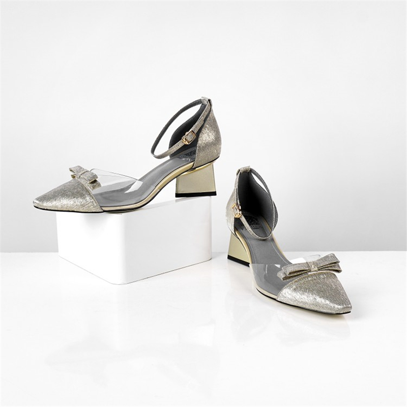 MSSTOR รองเท้าแตะสตรีฤดูร้อนสายคล้องคอ Transparent Sliver แฟชั่น Elegant Party รองเท้าแตะผู้หญิง 2019 ผสมสีฤดูร้อนรองเท้าแตะ-ใน รองเท้าส้นสูงปานกลาง จาก รองเท้า บน   3