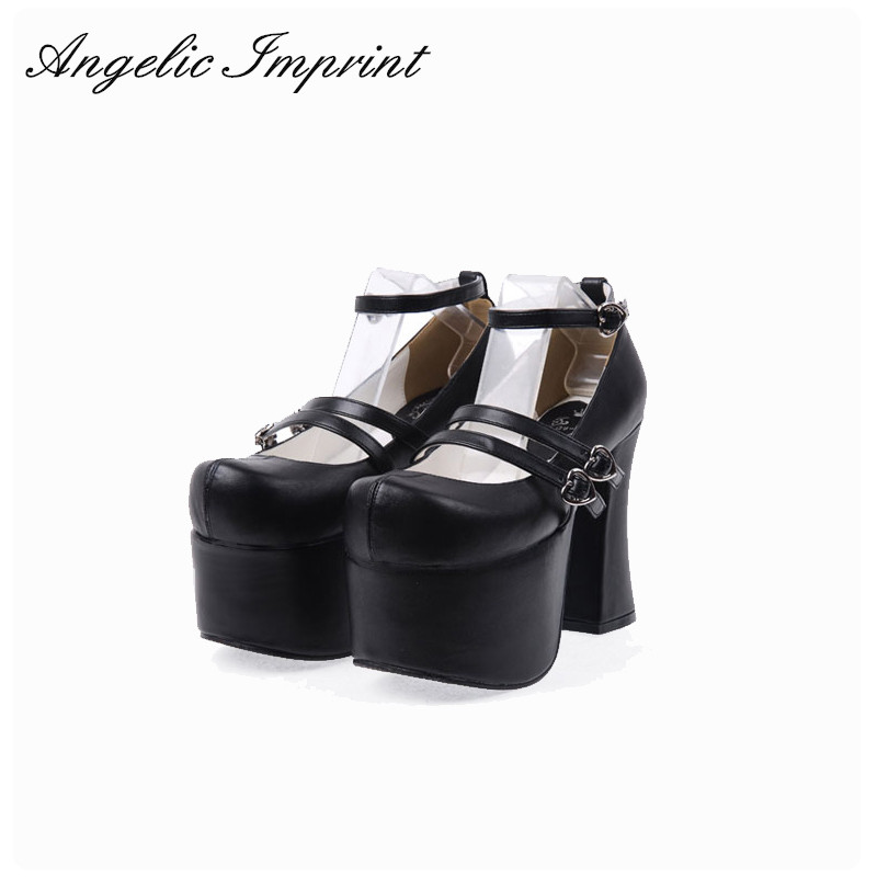 Super High Heels Thick Platform Women's Pumps Queen Cosplay Gothic Punk Lolita Shoes BLACK/RED/PINK eur 34 44 angelic imprint zapatos mujer lolita cosplay punk pumps high boots princess sweet girl s pumps black women s shoes