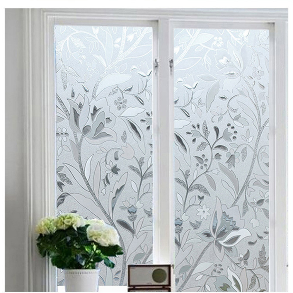 Frosted glass window bathroom - 4 Types Pvc Frosted Glass Film Windows Shower Room Stained Glass Film Electrostatic Glue Free