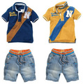 2016BCS037 бесплатная доставка лета детская одежда устанавливает случайные джинсовой костюм дети футболка + джинсы короткие 2 шт. одежда розничная