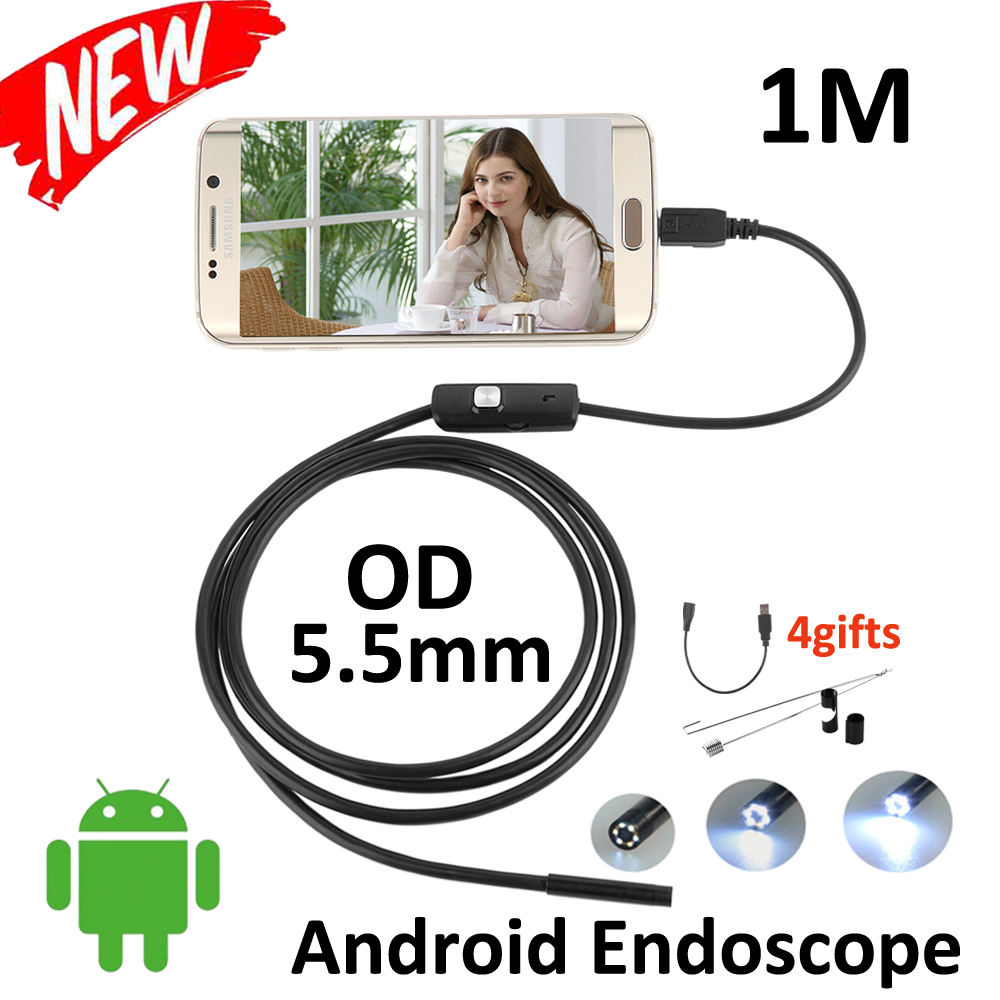 5.5mm Lens Android USB Endoscope Camera 1M IP67 Waterproof Snake Pipe Gadget Inspection Android Phone OTG USB Borescope 6LED micro usb endoscope camera 7mm lens 1 5m flexible snake pipe inspection android phone otg usb borescope p67 waterproof camera