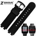 22 mm preto relógio de aço inoxidável revestido de borracha de Silicone pulseiras substituir Pebble Steel2 pulseiras