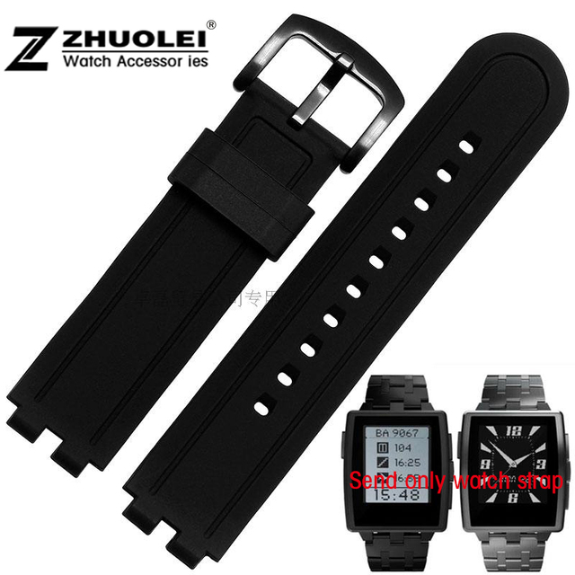 22mm Black Silicone Rubber Wrapped Stainless Steel Watch Band Bracelets replace