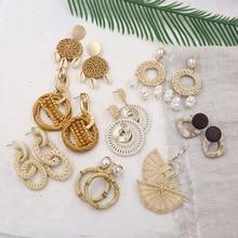 Natural Rattan Earrings for Women Summer Shell Earring Straw Woven Wicker Drop Vintage Wood Jewelry Pendientes Mimbre