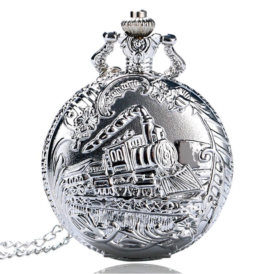 Silver Case Train Locomotive Hollow Quartz Pocket Watch Clock Hour Necklace Pendant Women Men's Fob Watches Christmas Gifts