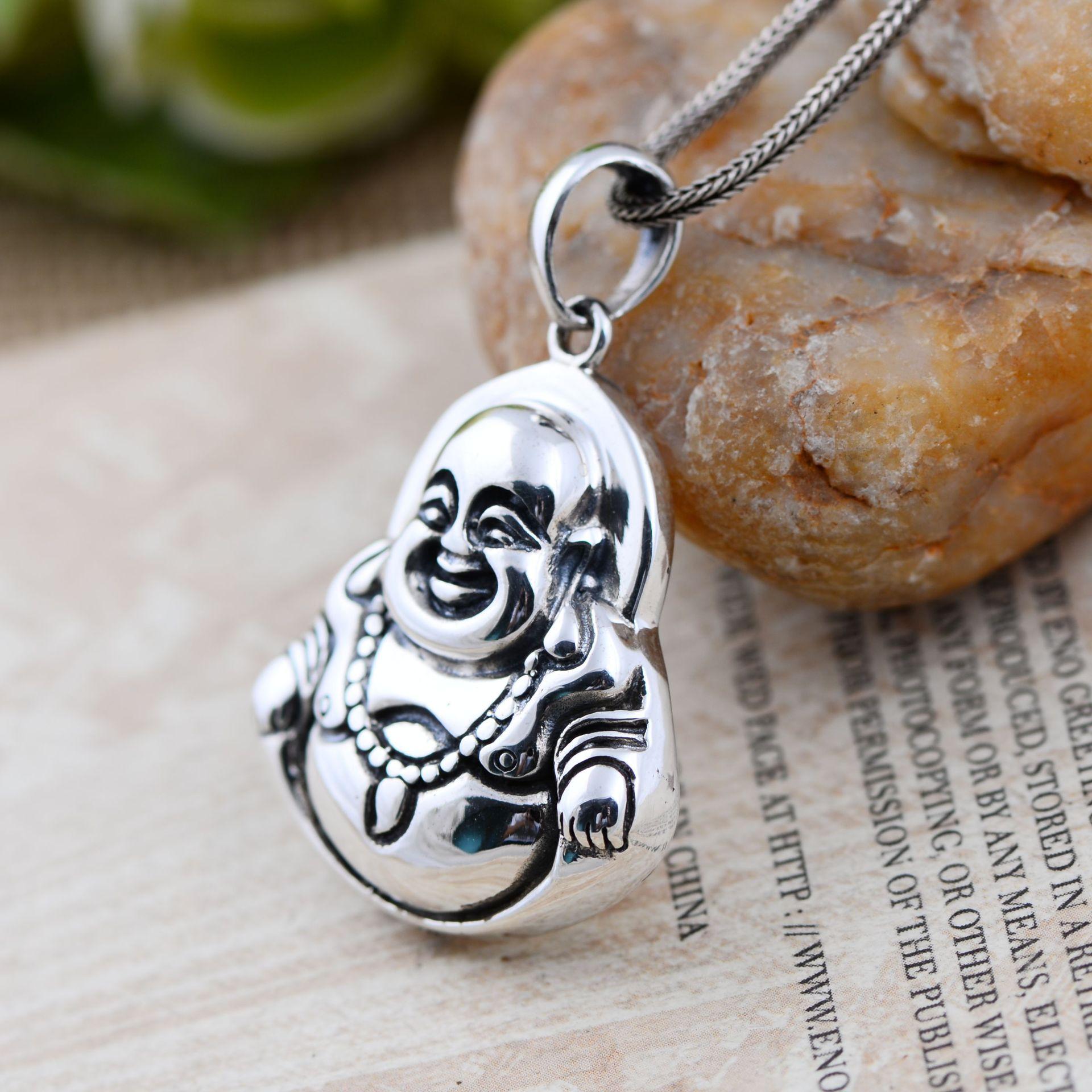 Винтаж реальные 925 пробы Серебряные ювелирные изделия тайский Майтрейя матовая Смеющийся Будда кулон для Для мужчин и Для женщин Благослов...