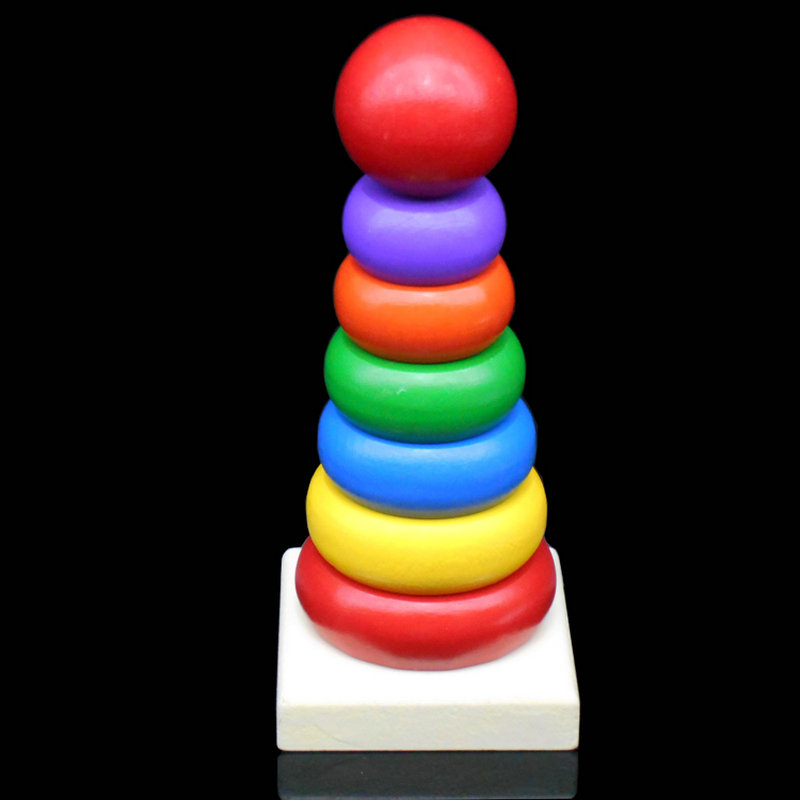 Exempt Postage, Spot Supply, Small Mini Tower, Rainbow Color Ring 8 Layer Building Blocks, Layer Upon Layer, Wooden Toys