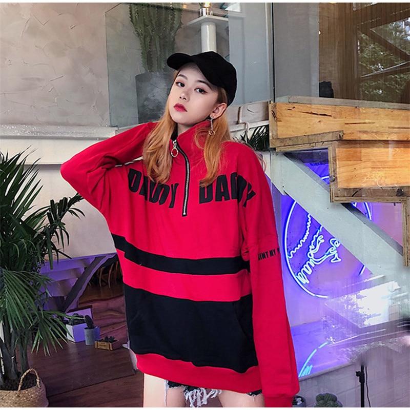 Felpe Harajuku Striped Long Sleeve Women's Sweatshirt Pull Zippers Loose Streetwear Letter Woman's Sweatshirts Female Sudaderas