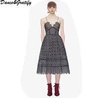 Self Portrait Dress 2018 New Women Sexy Spaghetti Strap Runway Dress Embroidery Long Boho Party Midi Dress