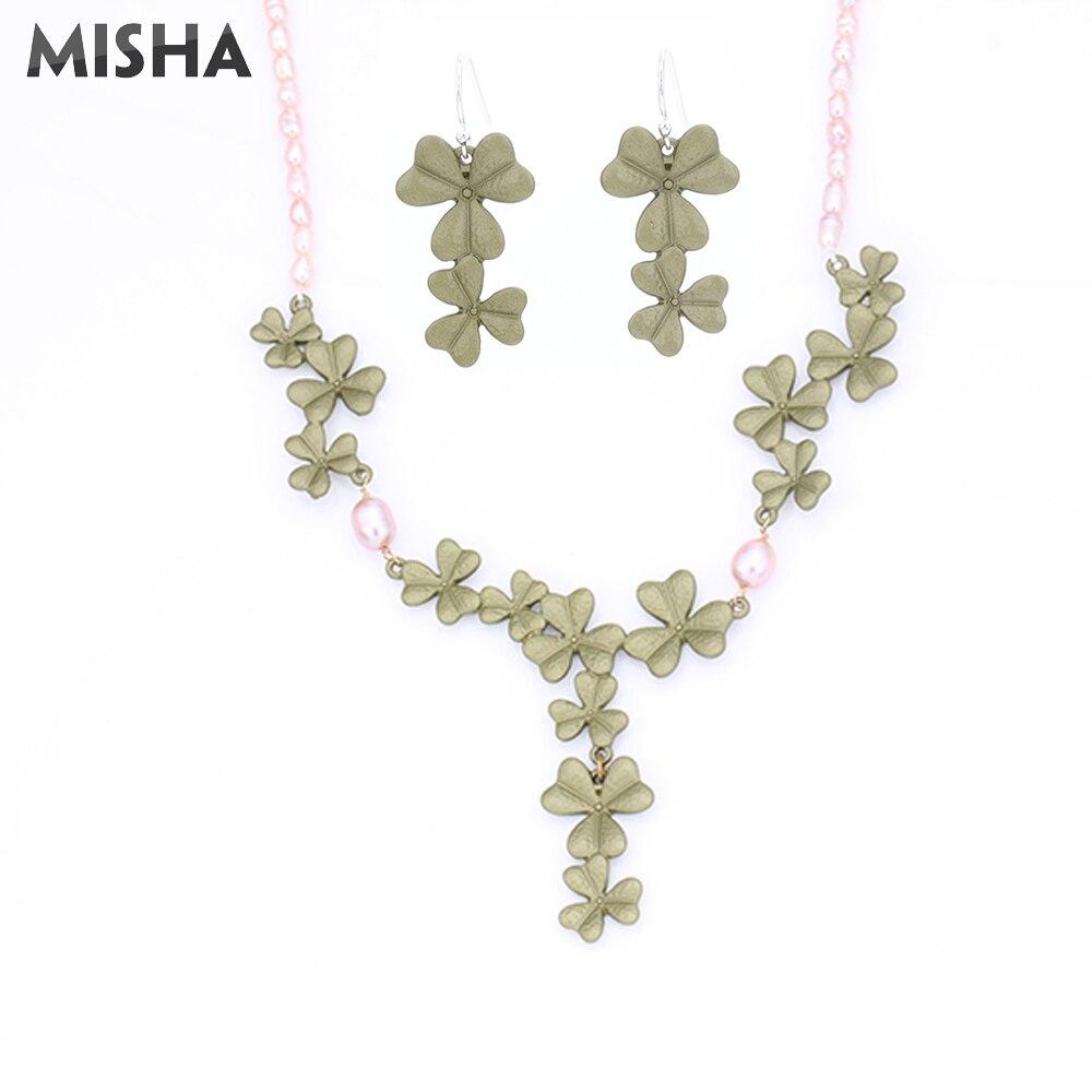 MISHA haute qualité bijoux ensembles collier boucles d'oreilles Fow femmes à la main trèfle chanceux collier et boucle d'oreille pour la fête de mariage 2356
