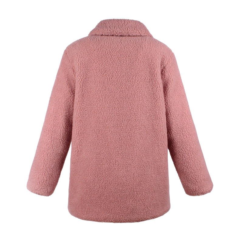 Europe and the United States street photo lapel imitation fur plush coat multi-color long wool coat (17)
