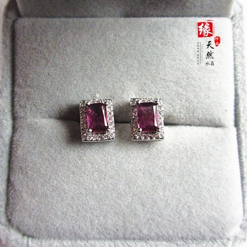 Boucles d'oreilles en argent naturel 925 incrusté de belles pierres semi-précieuses naturelles cristal autrichien violet cadeau petite amie