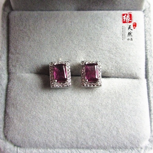 Natural Amethyst stud Earrings 925 silver inlaid beautiful Natural semi-precious stones Austrian crystal purple girlfriend gift