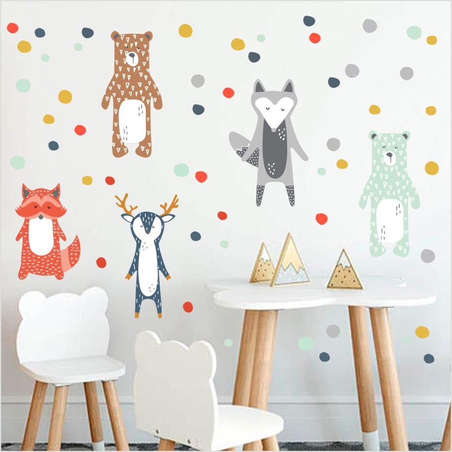 Cartoon Waldtiere Giraffe Bär Fuchs Wandaufkleber Für Kinderzimmer ...