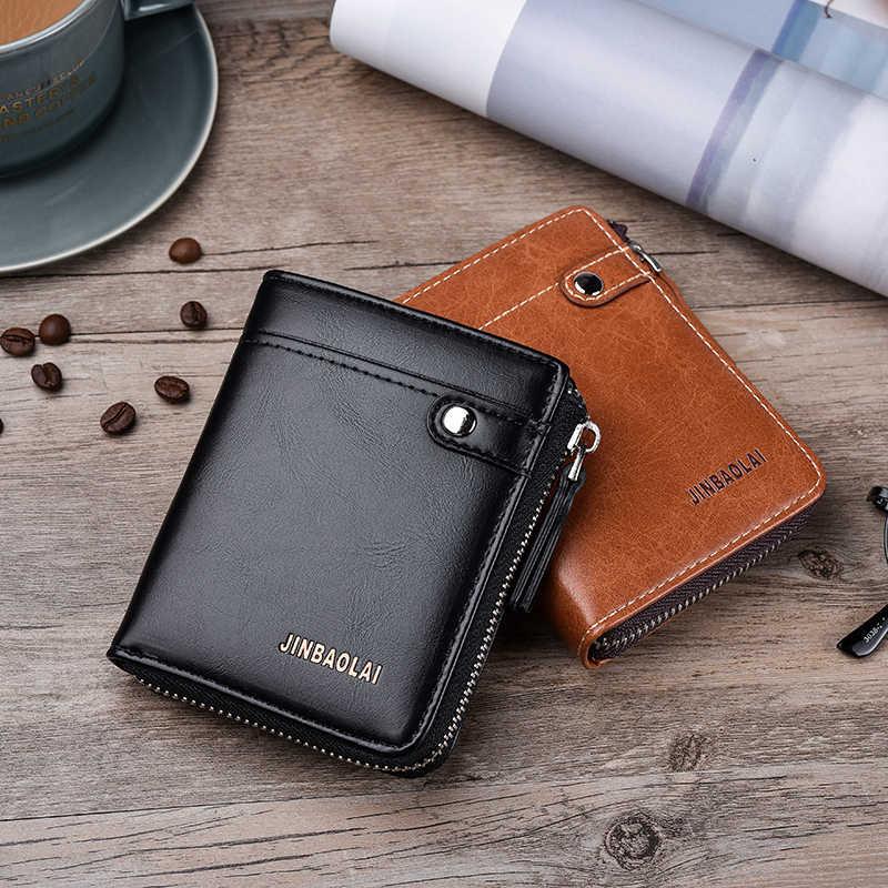 JINBAOLAI короткий мужской бумажник из искусственной кожи с держателем для карт Многофункциональный кошелек мужской брендовый кошелек на молнии для монет carteira