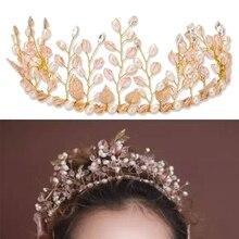 Fashion Tiaras and Crowns Pink Rhinestone Pearl Hand Bridal Tiara Crown Jewelry Headband Bride Hair Accessory Wedding