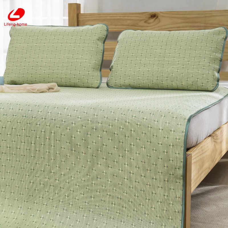 Lifeng домашний летний соломенный коврик крутая кровать коврик Натуральный соломенный матрац крышка 180*198 см Встроенная защитная подушка для кровати зеленый резиновый лист