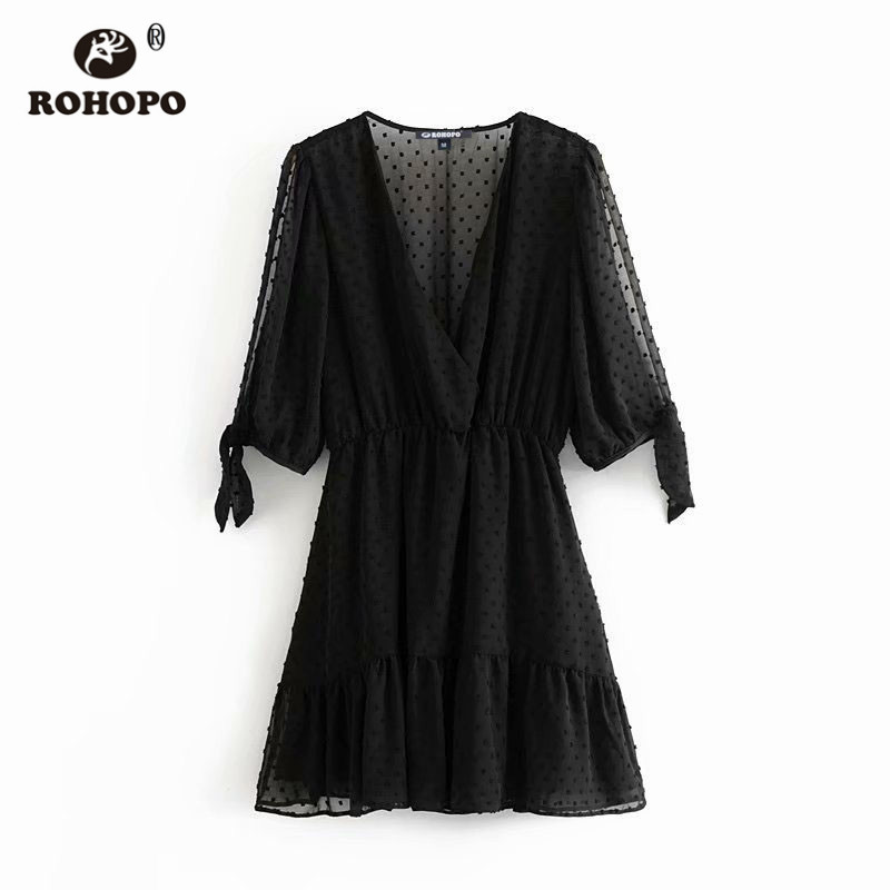 ROHOPO EU Size Women Polk Dot Chiffon Tunic Dress Slit Half Sleeve Patchaork Ruffles Pleated Cute Girl Autumn Dresses #AZ9424