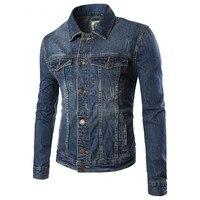 2016 New Arrival Single Breasted Men Fashion High Quality British Temperament New Spring Denim Jacket Lapel