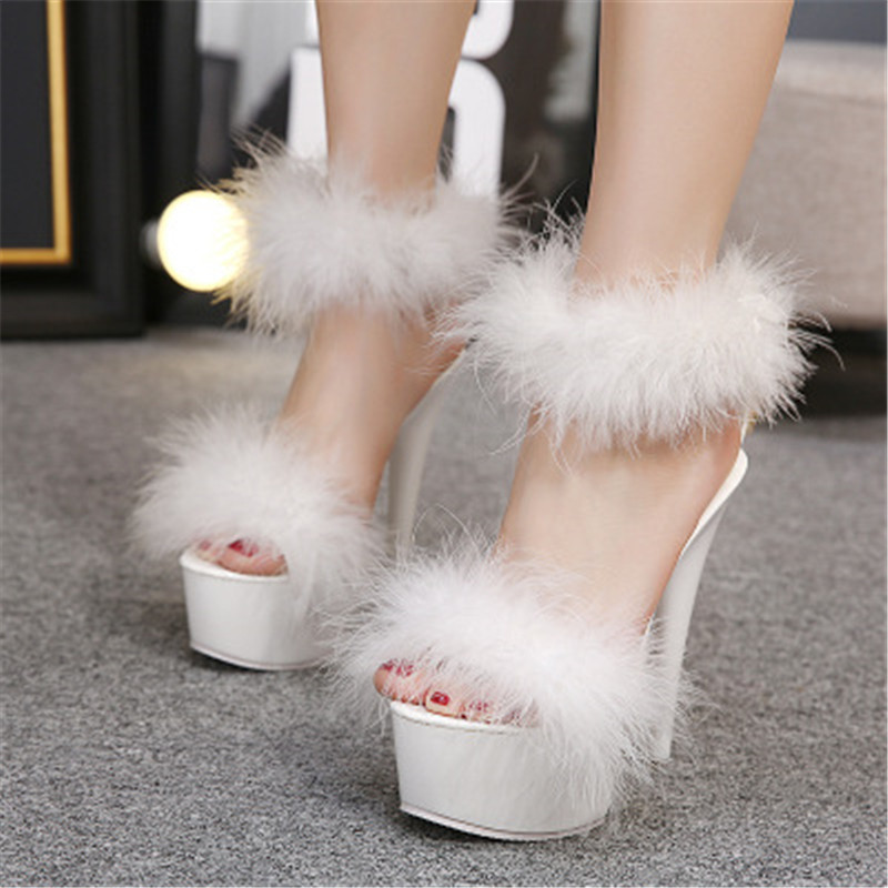 feiyitu 2019 Women T Stage Shows 15.5CM thin heels feather sandals high women shoes sexy pumps hairs plus size 34-42