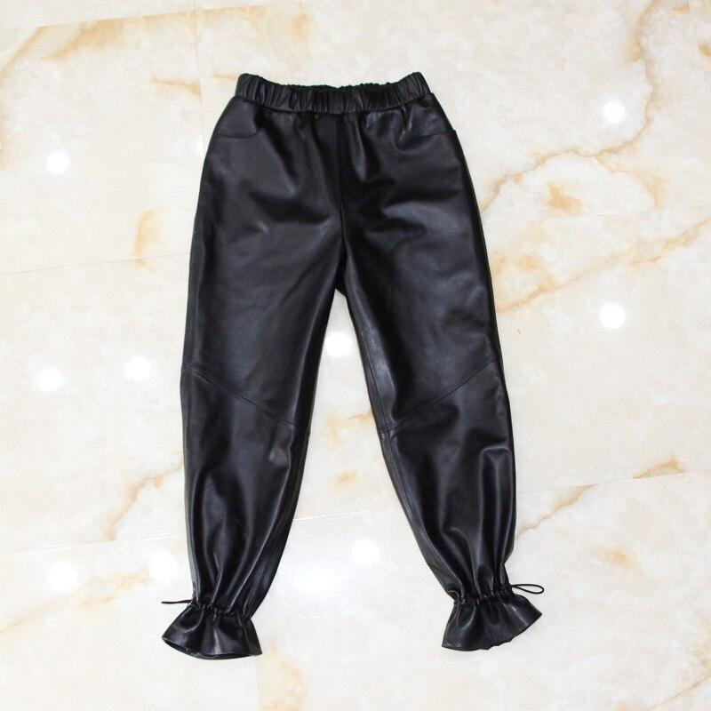 M-XL Femmes manchette En Cuir Véritable pantalon en peau de Mouton crayon pantalon Femme taille haute couleur noire était mince Pantalon wq1377 livraison directe