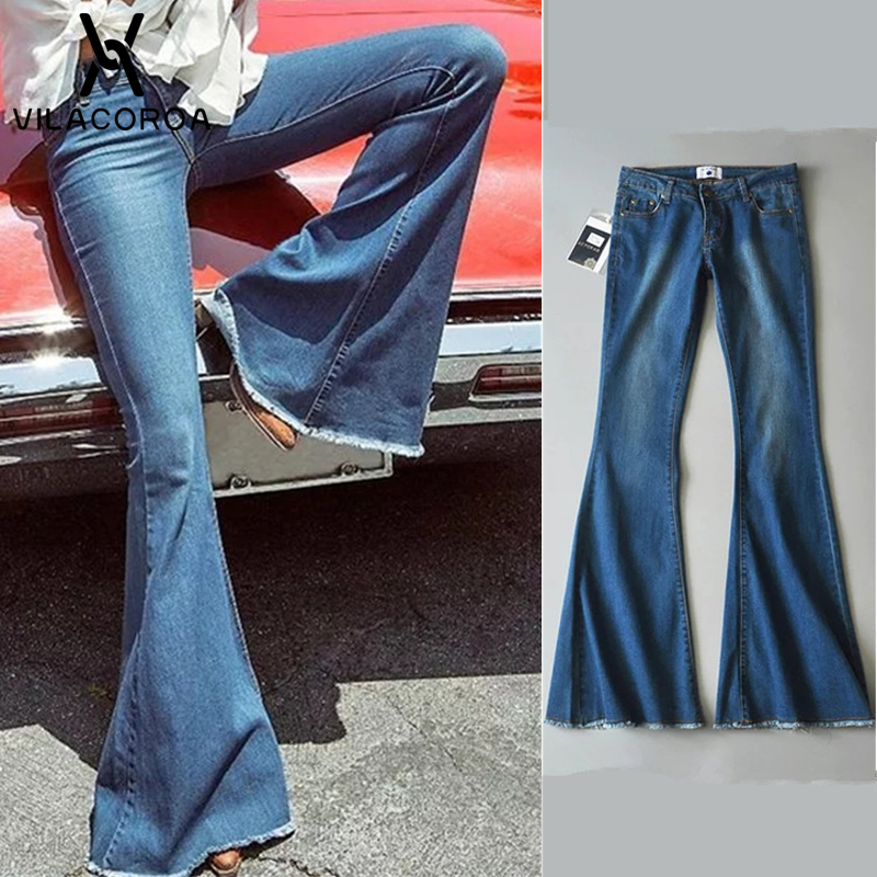 Mid Waist Flare   Jeans   Blue Boyfriend   Jeans   For Women Bell Bottom Skinny Denim Ladies   Jeans   Woman Wide Leg Pants