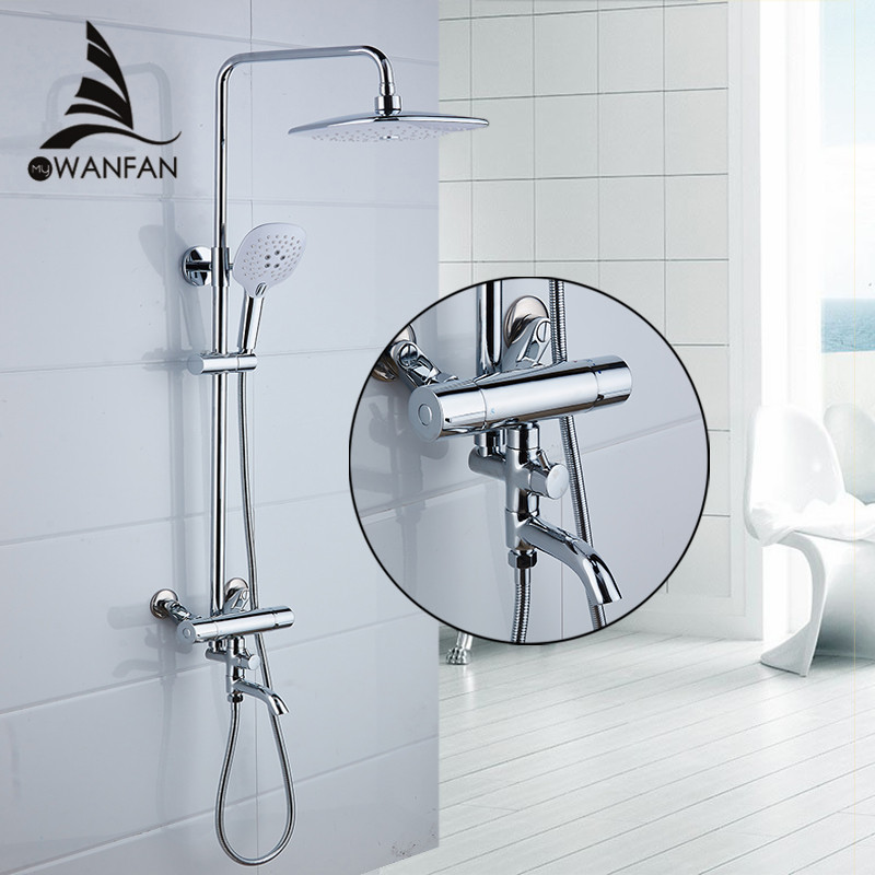 Shower Faucets Brass Chrome Thermostatic Bathroom Wall Bathtub Faucet Rain Shower Head Handheld Square Mixer Tap Sets JM-625L chrome finish dual handles thermostatic valve mixer tap wall mounted shower tap