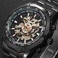 2017 Marca Top de Luxo Clássico À Moda Preto Relógio Dos Homens Homem de Esqueleto Mecânico Automático relógio De Pulso Masculino relogio masculino