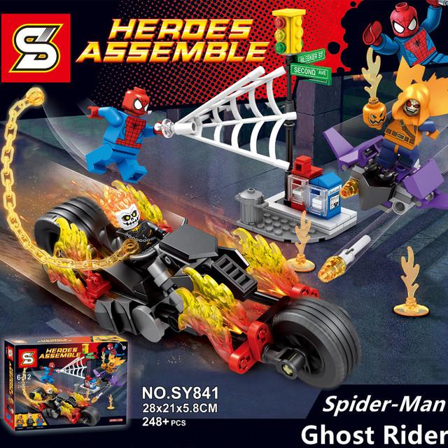 Sy841 spider-man team-up motocicleta ghost rider hobgoblin super heroes los vengadores bloques de construcción para niños juguetes lepin kazi se