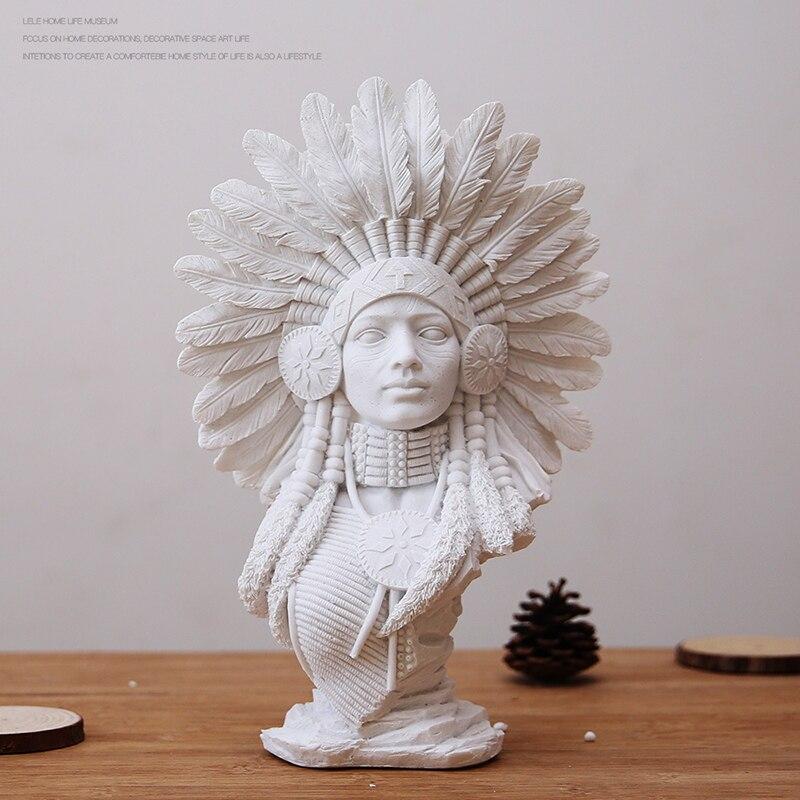 Creativo Arenaria Bianco Gesso Ritratto Della Decorazione di Arte Arredamento Europeo Scultura Artigianato Indiano Arte Moderna Ornamenti Regali-in Statue e sculture da Casa e giardino su  Gruppo 3