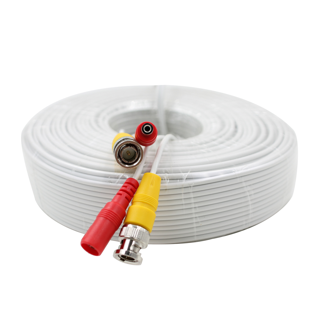 SUNCHAN Coaxial Video Power Siamese Cable 130FT 40M CCTV BNC+DC Plug Cable for Security Camera for Surveillance Camera DVR Kit mool 100 feet pre made siamese bnc video and power cable ready to go for security camera cctv systems