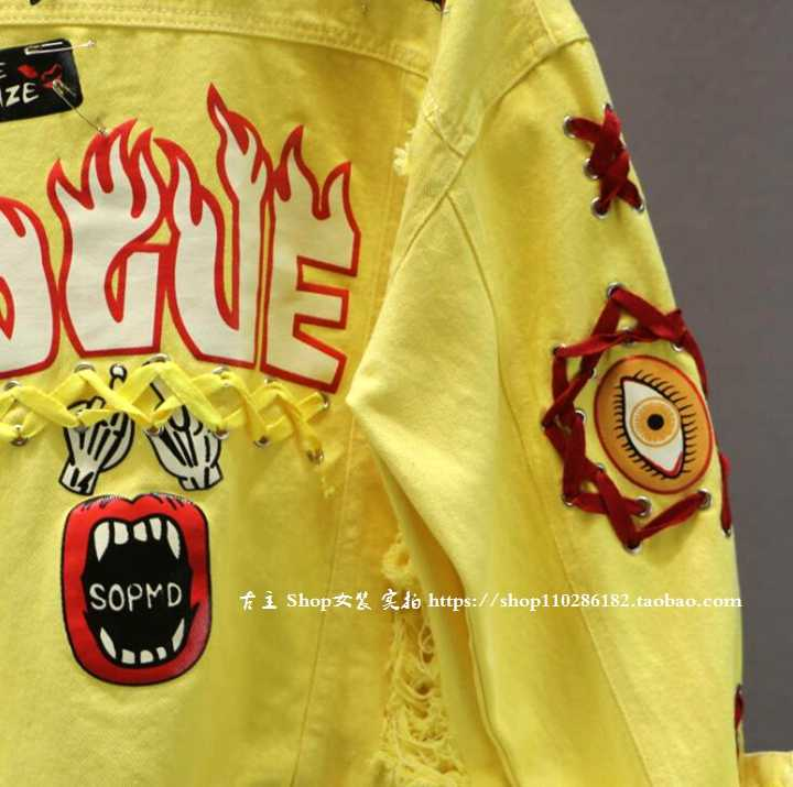 Merah/Kuning Jeans Baru Musim Semi Musim Gugur Wanita Graffiti Alphabet Cetak Renda Busur Pin Hole Denim Mantel Siswa mantel Dasar