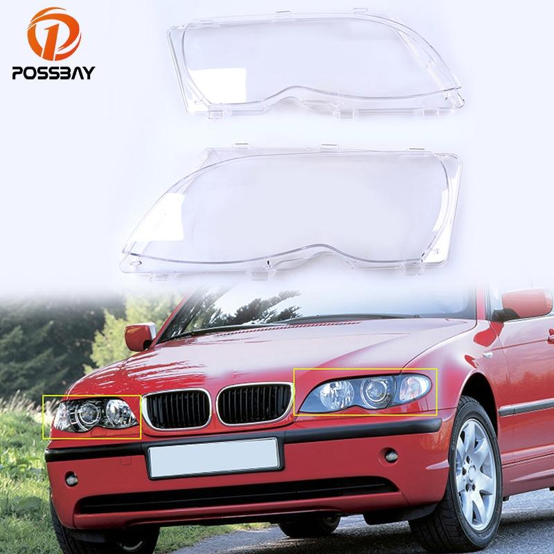 POSSBAY Car Headlight Clear Lens Cover Headlamp Shell for BMW 3 Series E46 Sedan 2001 2005