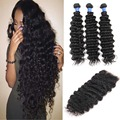 Brazilian virgin hair with closure deep wave curly human hair with bundles brazilian deep wave 3 bundles hair closure