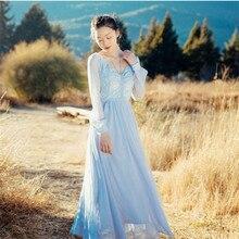 جديد انفجارات عالية الجودة الترفيه خمر فساتين حفلات أنيقة النساء التطريز كم كامل الربيع فستان القميص عادية