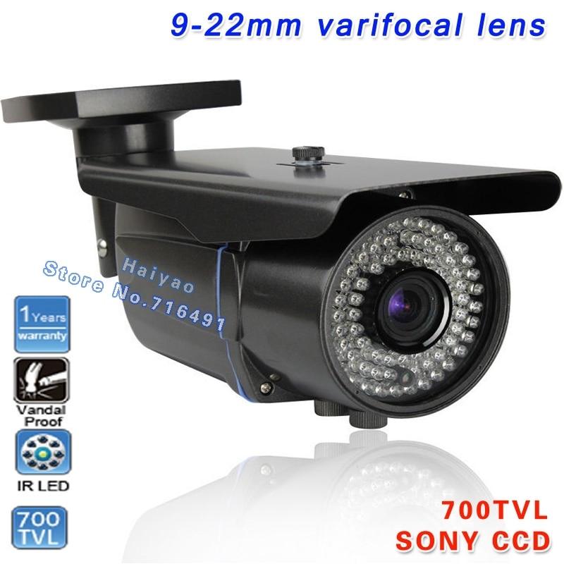 New! 700TVL 1/3 Sony Effio CCD CCTV Camera monitors Varifocal lens Outdoor Indoor 9-22mm lens IR Leds Surveillance Cameras