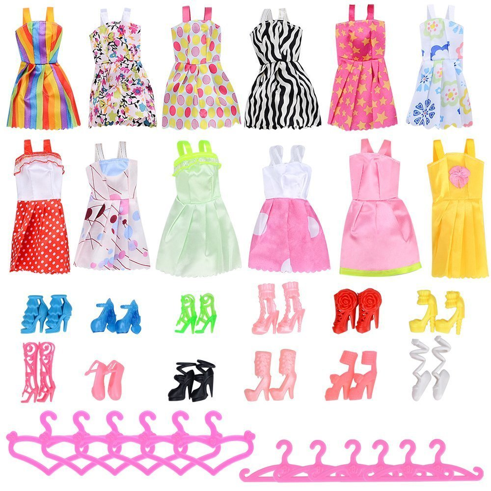 Rosana 36 Pcs Doll Accessories 12 Mixed Style Dresses +12 Shoes+12 Hangers for Barbie Dolls Dress Up Girls Play House Clothes barbie dolls dress up best gift packs child toys items set doll accessories hangers bag shoe earring bowknot crown