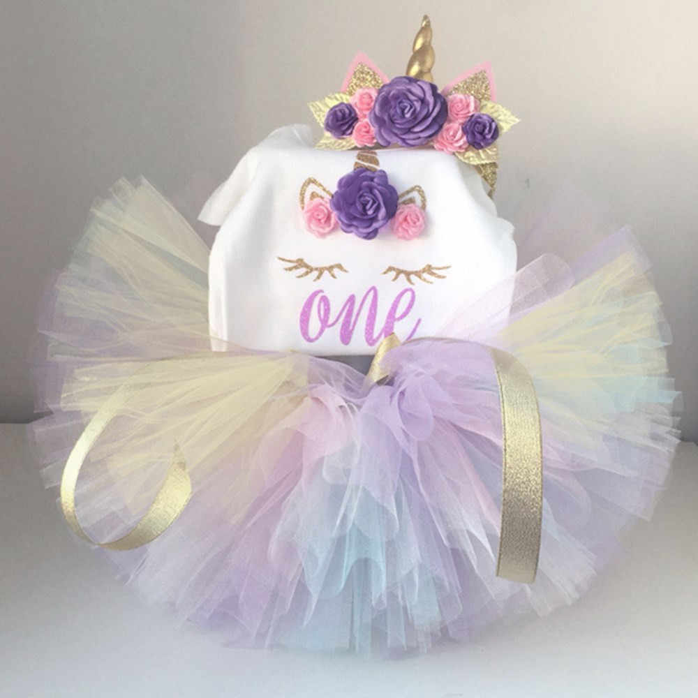 Summer Unicorn Party Dress Toddlers Tutu Lace Girls First Birthday Dresses Kids Clothes Baby